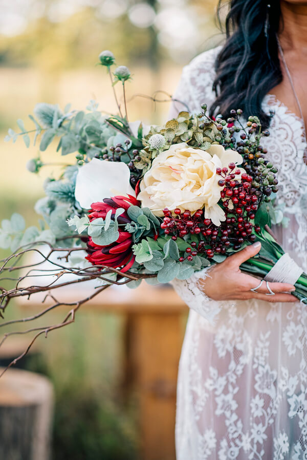 Bohemian Green and Red Bouquet