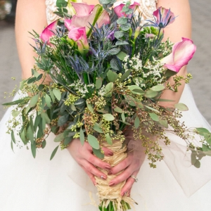 Central Park New York Bridal Portraits - Greenery Bouquet
