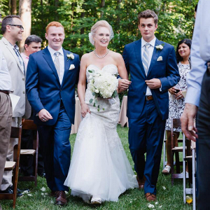 Charlotte-Backyard-Garden-Wedding-Sons-walking-bride-down-the-aisle