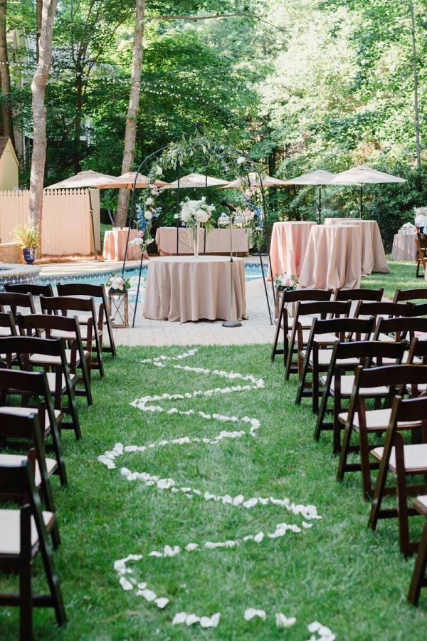 Charlotte-Backyard-Garden-Wedding-wedding-ceremony-aisle-petals