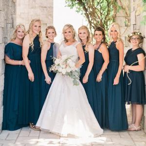 Chic-Backyard-Garden-Wedding-Navy-Blue-bridesmaids