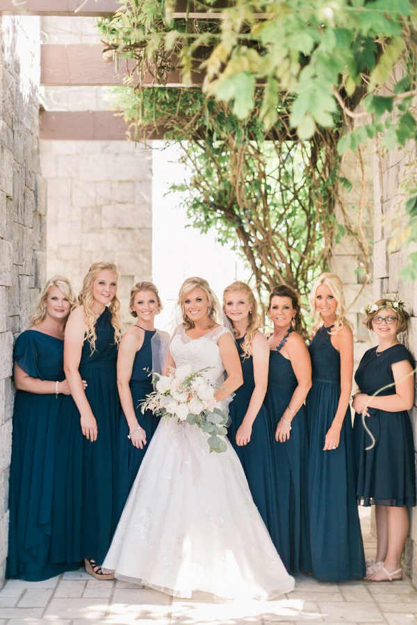 Chic-Backyard-Garden-Wedding-Navy-Blue-bridesmaids
