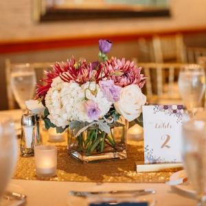 Purple Gold Navy Wedding - short centerpiece
