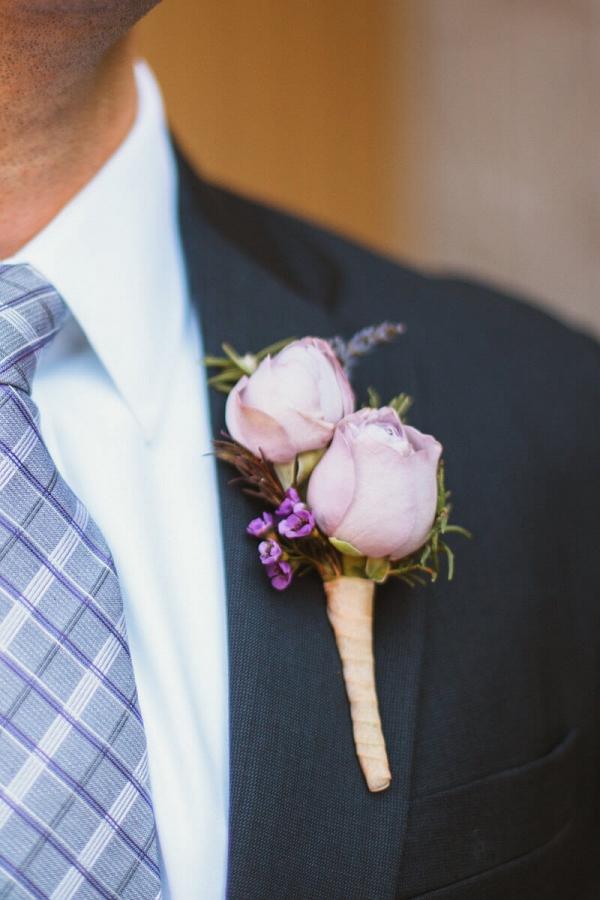 Purple Navy Wedding - boutonniere