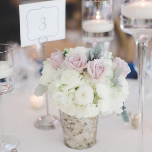 Classic Maryland Wedding -  short pink floral centerpiece