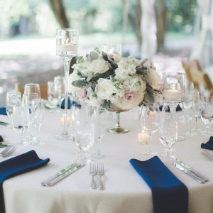 Classic Maryland Wedding - outdoor blue wedding reception table