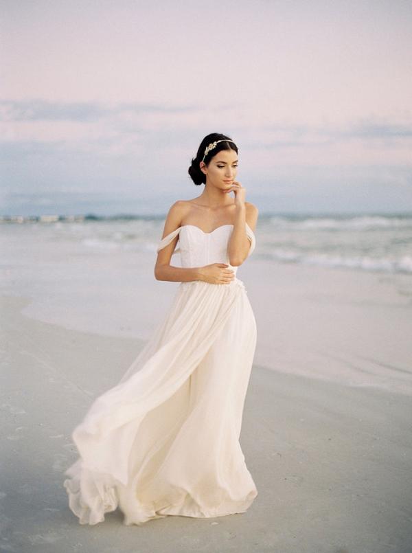 Jillian Fellers Colette Off Shoulder Wedding Gown