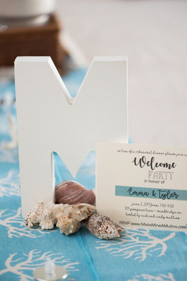 Pink-Blue-Virginia-Beach-Wedding-table-decor-monogram-and-sea-shells