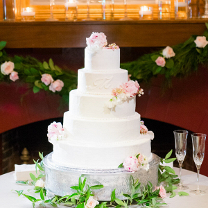 Elegant Country Club Wedding - White and pink floral wedding cake