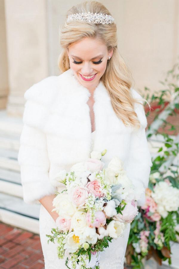 Elegant Country Club Wedding - Bridal Fur Coat
