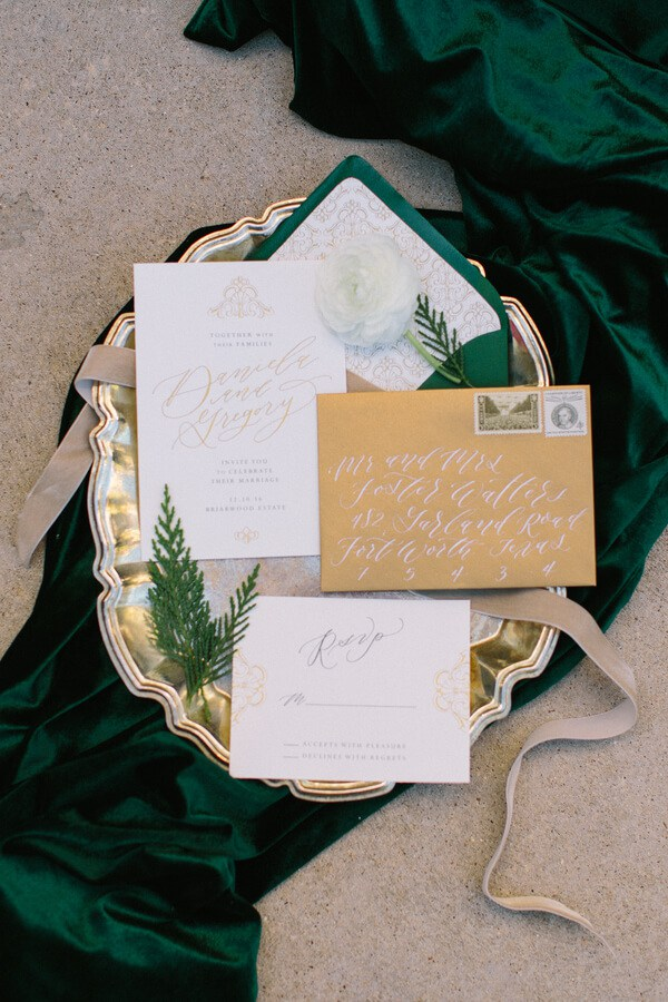 Emerald Gold Wedding invitation suite