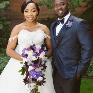 Couple Portrait with Bride's Cascading Bouquet