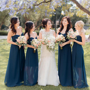 Elegant-Shabby-Chic-Wedding-Navy-Blue-Bridesmaids