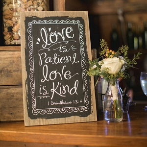love is patient love is kind sign - christian wedding signange