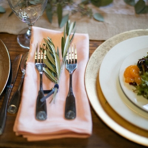 peach and greenery tablescape