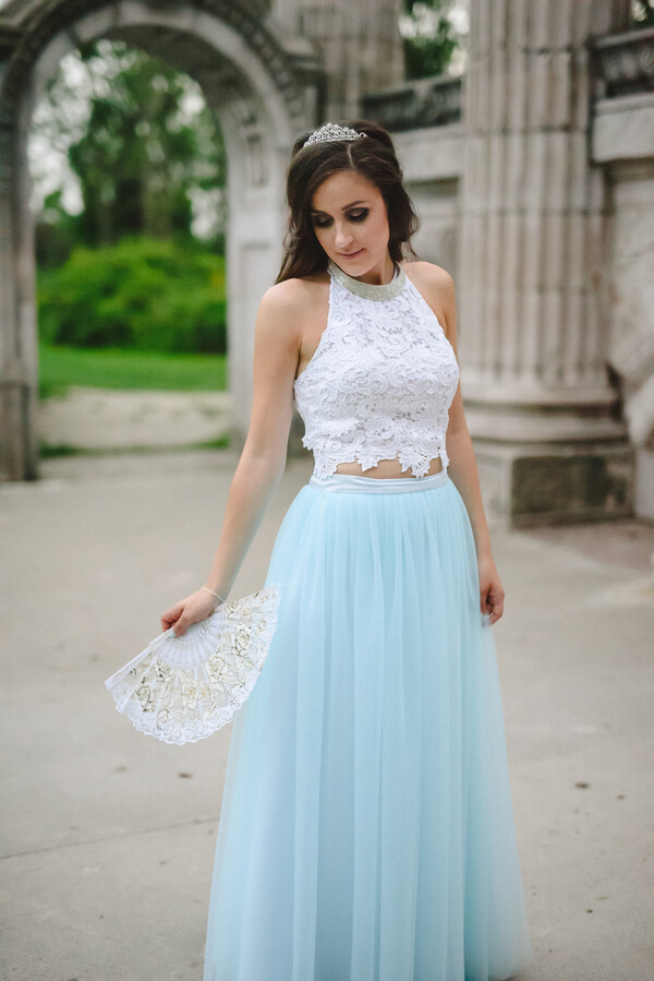 Fairytale Garden Engagement Toronto - crop top with tulle skirt
