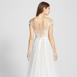 Watters Farah Tulle & Charmeuse Wedding Dress - Back View