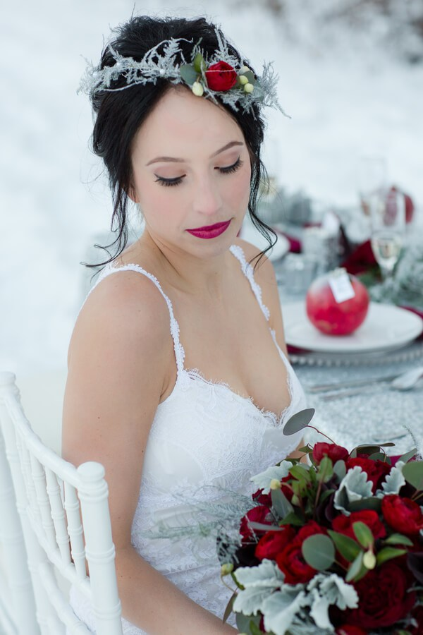 Frosted-Fairy-Tale-Wedding-Bride-floral-crown | Winter Wedding Bride