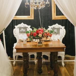 Gold-Pink-Rustic-Elegant-Wedding-Sweetheart-table