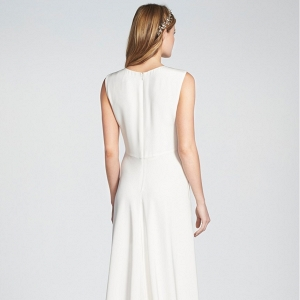Sleeveless Silk V-Neck Wedding Gown