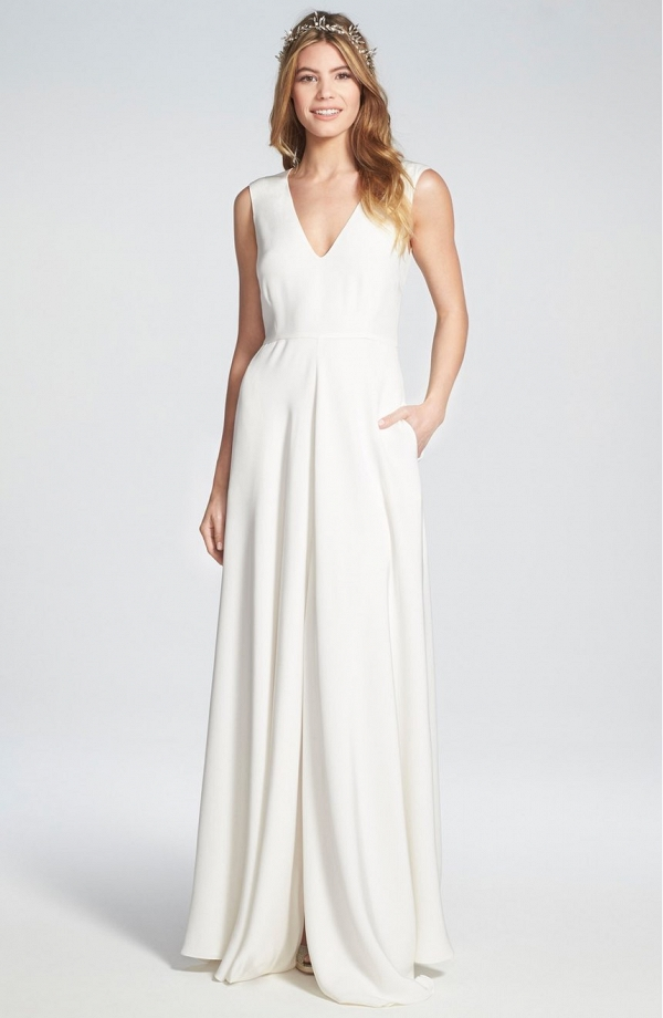 Sleeveless Silk V-Neck Wedding Dress