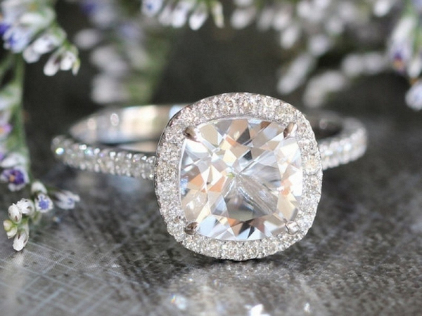Halo Diamond White Topaz Wedding Ring