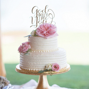 Rustic-Romantic-Outdoor-Wedding-white-and-pink-cake-with-God-gave-me-you-topper