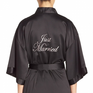 Black Satin Bridal Robe
