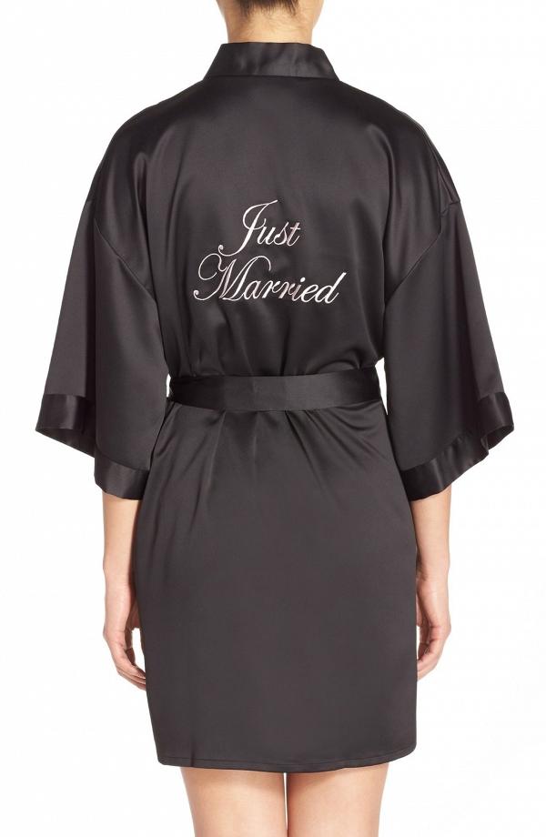 Black Satin Bridal Robe