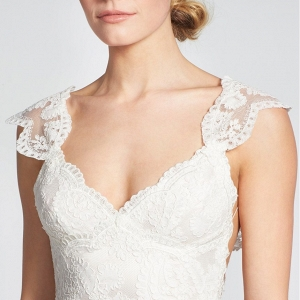 Convertible Cap Sleeve Lace Low Back Wedding Dress