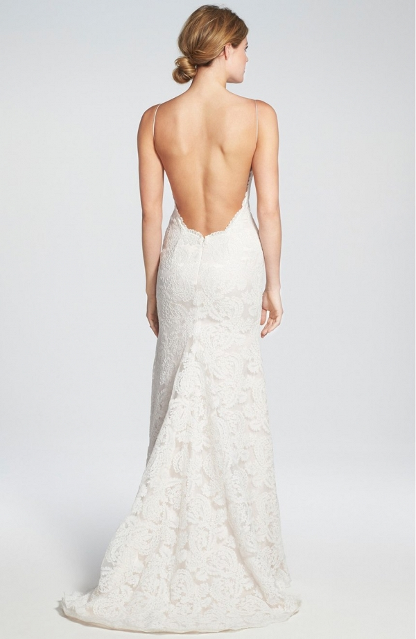 Convertible Cap Sleeve Lace Low Back Wedding Gown - Back view