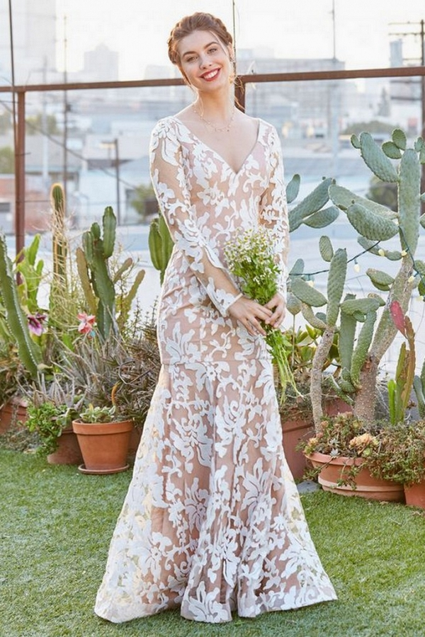 Nude Floral Pattern Wedding Gown