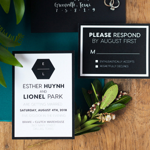 Minimalist Tablescape Wedding Inspiration - Black and White invitation suite