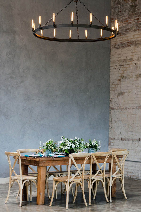 Minimalist Tablescape Wedding Inspiration - industrial reception setting