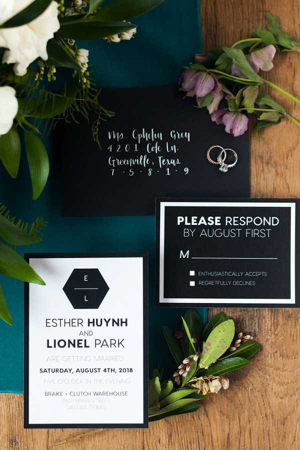 Minimalist Tablescape Wedding Inspiration - Black and White invitation suite