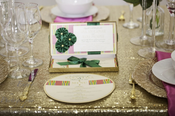 Modern Ghanaian Wedding Inspiration - table setting and kente stationery