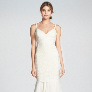 Lace and Chiffon Trumpet Wedding Dress