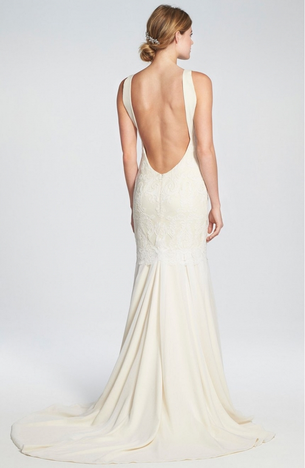Lace and Chiffon Trumpet Wedding Gown
