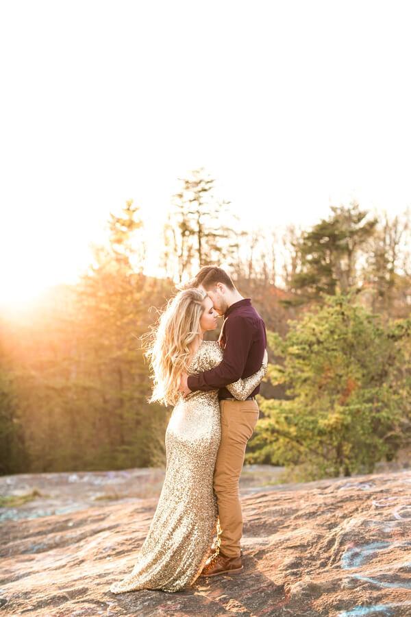 Mountaintop Golden Engagement - Golden Sunlight