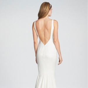Twist Front Crêpe de Chine Mermaid Wedding Gown