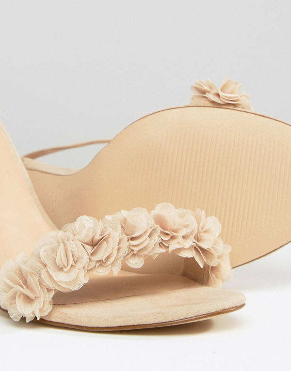 Nude Lace Up Floral Sandals