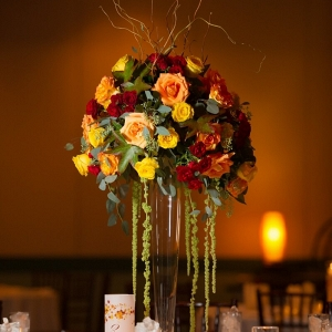 Orlando Resort Fall Wedding - tall fall colored centerpiece