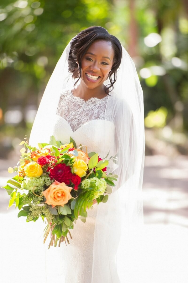 Orlando Resort Fall Wedding - black bride with large bouquet