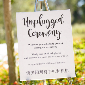 Orlando Summer Outdoor Wedding - unplugged wedding sign