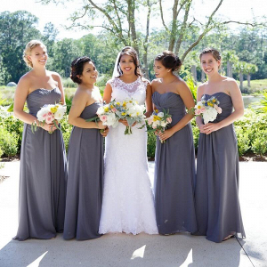 Orlando Summer Outdoor Wedding - Grey Bridesmaids