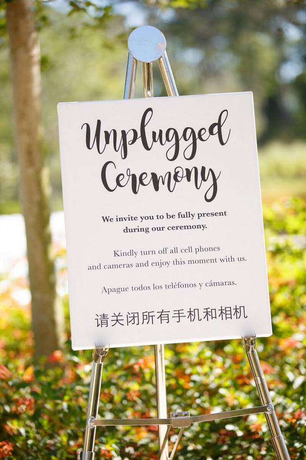 Orlando Summer Outdoor Wedding - unplugged wedding sign