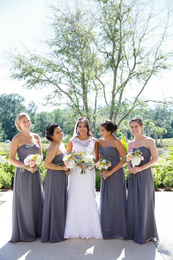 Orlando Summer Outdoor Wedding - Grey Bridesmaids