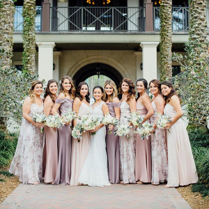 Outdoor-Shabby-Chic-Wedding-mismatched-bridesmaids-in-shade-of-soft-purple