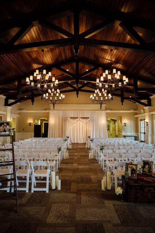 Outdoor-Shabby-Chic-Wedding-ceremony-set-up-with-amazing-backdrop