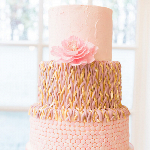 Pastel Vintage Wedding - Blushing Pink and Gold wedding cake